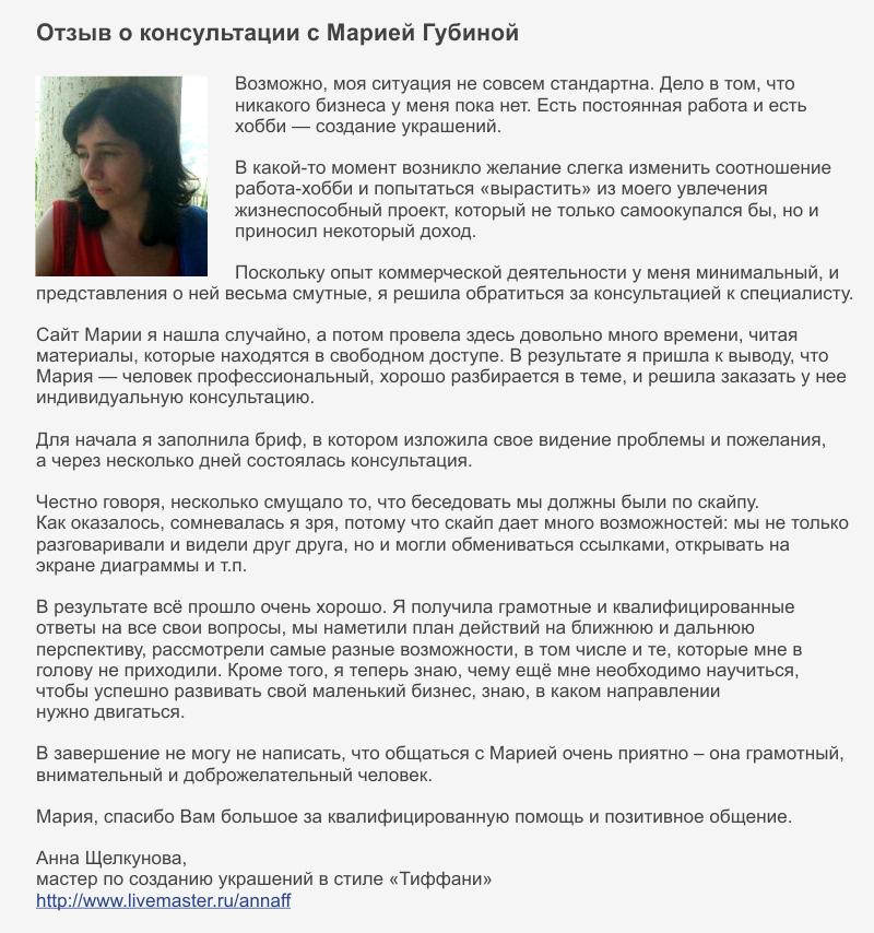 Отзыв Мария Губина